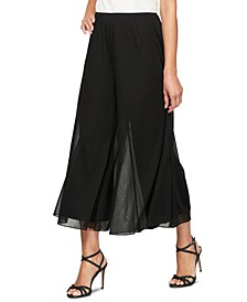 Petite Chiffon Wide-Leg Cropped Pants