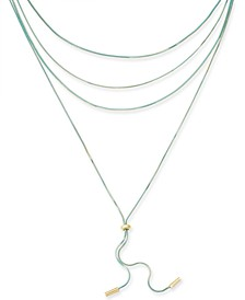 "Two-Tone Multi-Chain Lariat Necklace, 16"""",18"""",20""""+3"" extender Created for Macy's"