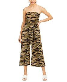 Juniors' Strapless Camo-Print Jumpsuit