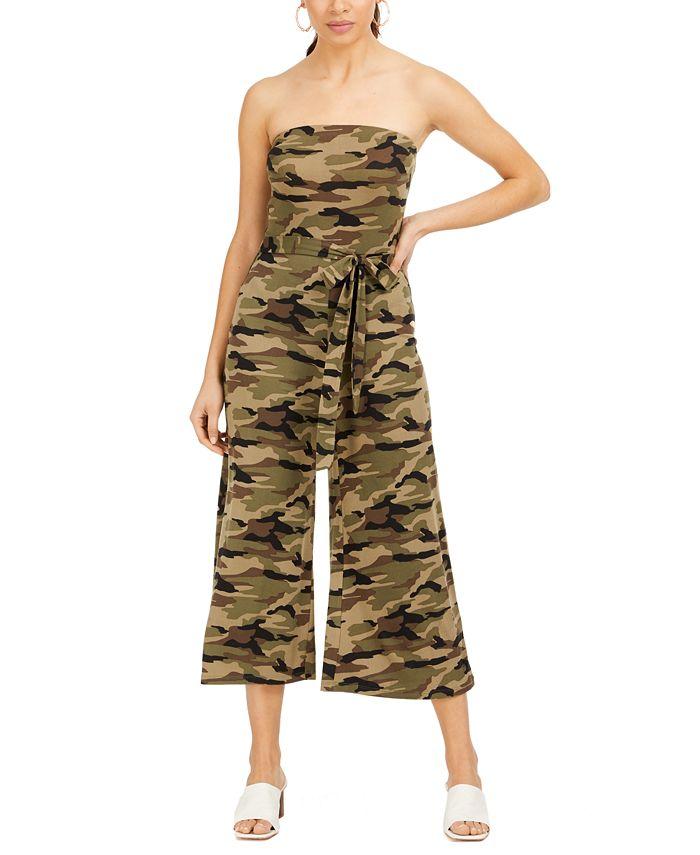Almost Famous - Juniors' Strapless Camo-Print Jumpsuit