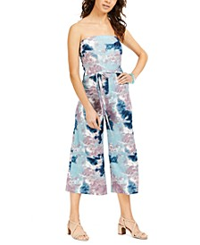 Juniors' Strapless Tie-Dyed Jumpsuit