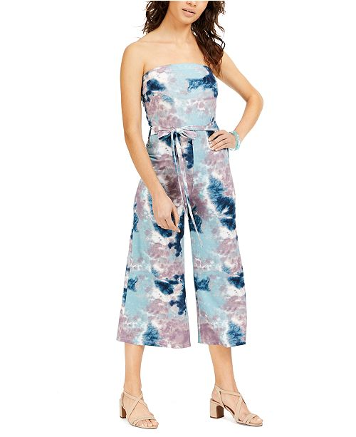 Almost Famous Juniors' Strapless Tie-Dyed Jumpsuit