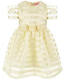 Little Girls Yellow Organza Striped Party Dress