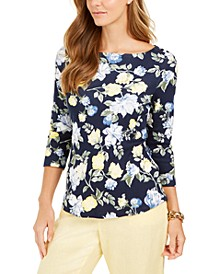 Floral-Print Boat-Neck Pima Cotton Top, Created for Macy's
