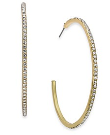"INC Large Pavé C-Hoop Earrings, 2.45"", Created for Macy's"