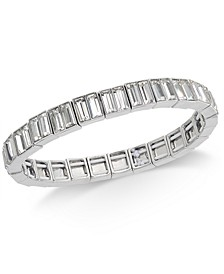 INC Silver-Tone Baguette Crystal Stretch Bracelet, Created for Macy's