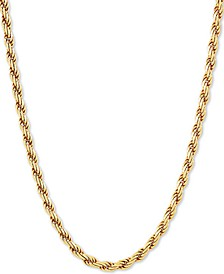 """Rope Link 18"""" Chain Necklace in 18k Gold-Plated Sterling Silver"""