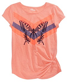 Big Girls Butterfly Side-Tie T-Shirt, Created for Macy's