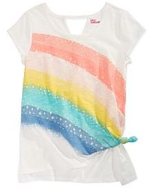 Big Girls Side Tie Rainbow-Print T-Shirt, Created for Macy's