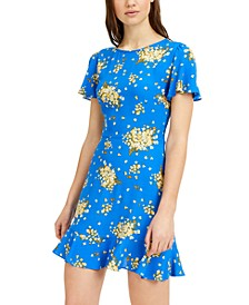 Juniors' Floral-Print Skater Dress