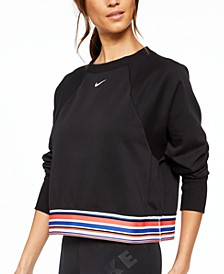 Women's Dri-FIT Get Fit Fleece Striped Cropped Top