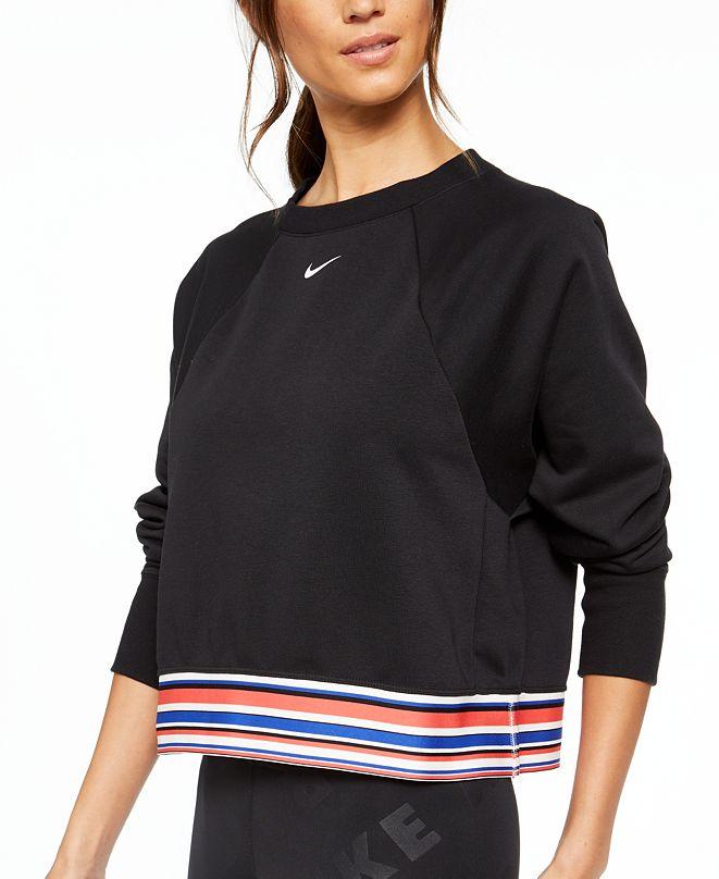 Nike Women's Dri-FIT Get Fit Fleece Striped Cropped Top