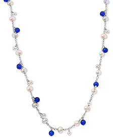 "EFFY® Cultured Freshwater Pearl (4 & 6mm) & Lapis Lazuli 21"" Statement Necklace in Sterling Silver"