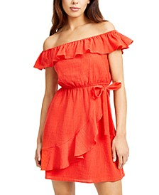 Juniors' Off-The-Shoulder Ruffled Dress