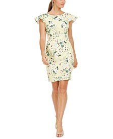 Ruffled Cap-Sleeve Printed Sheath Dress