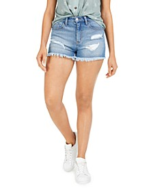 Juniors' Frayed Denim Shorts