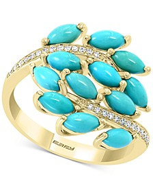 EFFY® Turquoise Cluster & Diamond (1/10 ct. t.w.) Statement Ring in 14k Gold