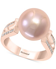 Pink Cultured Freshwater Pearl (12mm) & Diamond (1/8 ct. t.w.) in 14k Rose Gold