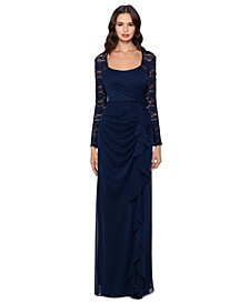 Lace-Sleeve Side-Ruched Gown