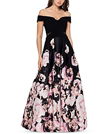 Petite Off-The-Shoulder Floral-Print Ball Gown
