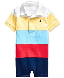 Baby Boys Striped Cotton Mesh Shortall