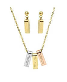 Ladies Tri Colored Stainless Steel Greek Key Design Charm Necklace Set, 2 Piece