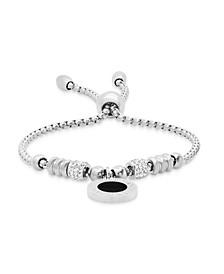 Stainless Steel Drawstring Bracelet with Enamel Greek Key Design Medallion Centered