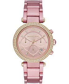Women's Chronograph Parker Pink Aluminum Bracelet Watch 39mm