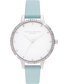 Women's Rainbow Turquoise Leather Strap Watch 34mm