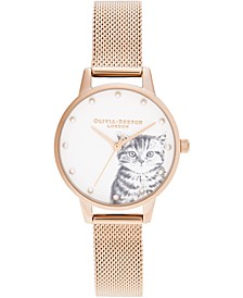 Women's Illustrated Animals Rose Gold-Tone Stainless Steel Mesh Bracelet Watch 30mm
