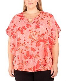Plus Size Printed Poncho Top
