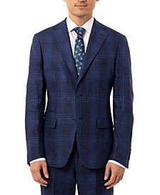 Men's Slim-Fit Blue Plaid Linen Suit Separate Jacket