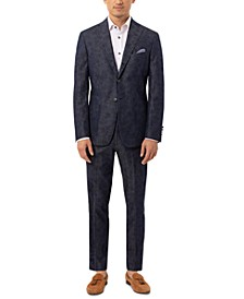 Men's Slim-Fit Navy Paisley Suit Separates