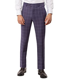 Men's Slim-Fit Stretch Purple Windowpane Suit Separate Pants