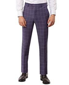 Men's Slim-Fit Stretch Purple Windowpane Suit Separate Pants