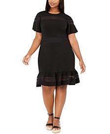 Plus Size Mesh Mix A-Line Dress