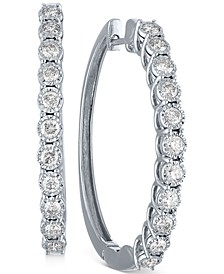 "Diamond Medium Hoop Earrings (1 ct. t.w.) in 10k White Gold, 1.5"""