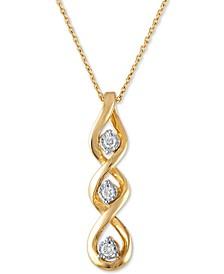 """Diamond Linear Twist 18"""" Pendant Necklace (1/10 ct. t.w.) in 10k Gold"""