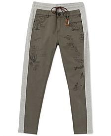 Men's Nissim Regular-Fit Mix-Media Colorblocked Printed Drawstring Pants
