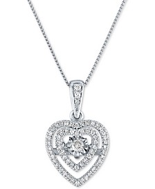 "Diamond Heart 18"" Pendant Necklace (1/4 ct. t.w.) in 10k White Gold"