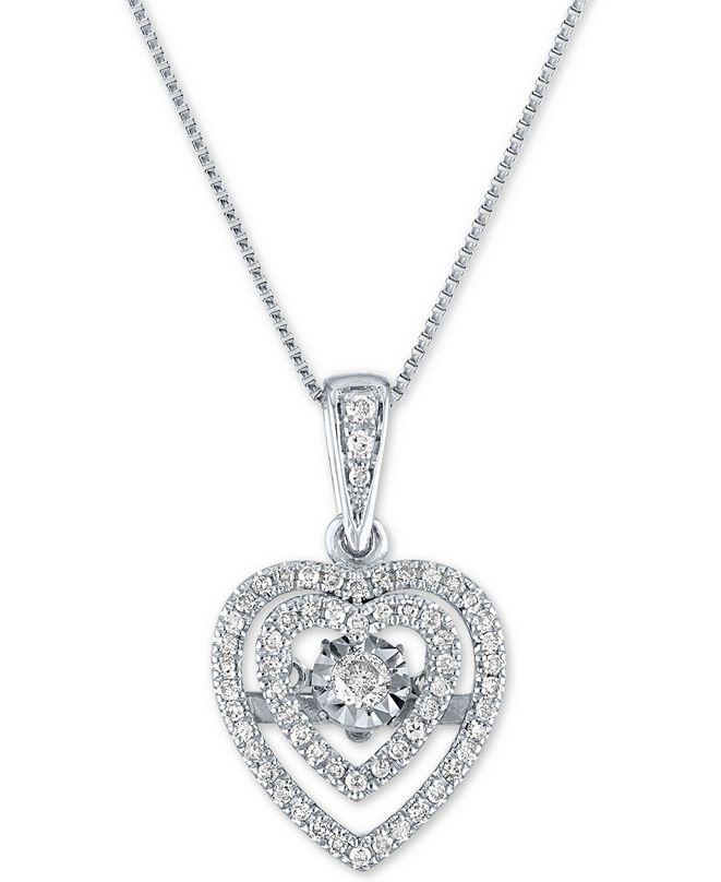 "Macy's Diamond Heart 18"" Pendant Necklace (1/4 ct. t.w.) in 10k White Gold"