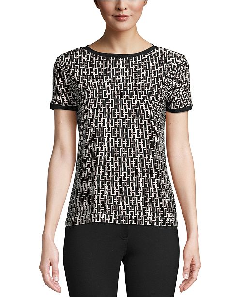 Anne Klein Printed Button-Back Top