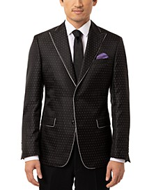 Men's Slim-Fit Black & Silver Dotted Dinner Jacket