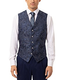 Men's Slim-Fit Navy Blue Paisley Vest