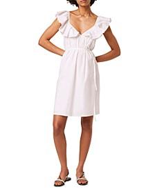 Flounce-Trim Tie-Waist Dress