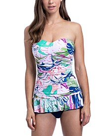 Club Tropicana Printed Ruffled Tummy Control Swimdress