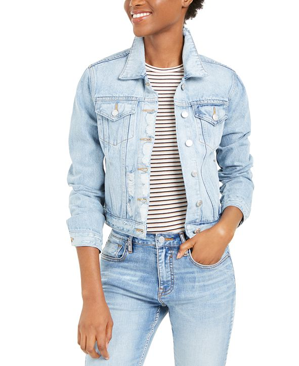 Vigoss Jeans Cotton Distressed Denim Jacket