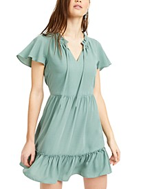 Juniors' Flutter-Sleeve Fit & Flare Dress
