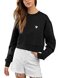 Crew Neck Long-Sleeved Cropped Sweatshirt