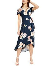 Juniors' High-Low Wrap Dress